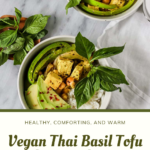"""curry with text """"vegan thai basil tofu coconut curry""""."""