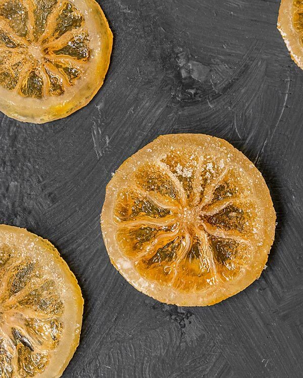 Candied Lemon Slices coated in sugar