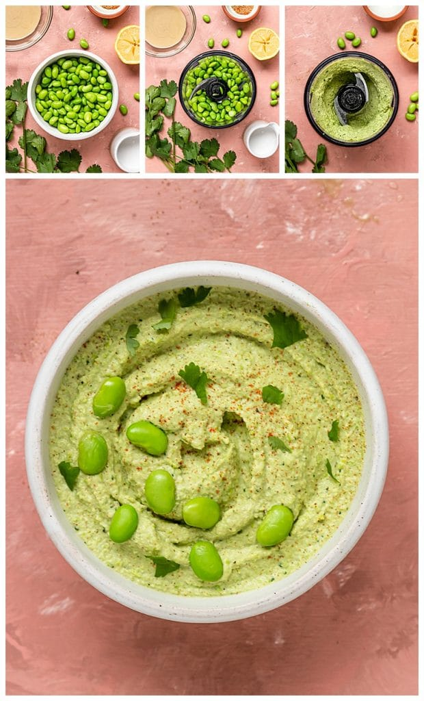 process shots of how to make edamame hummus with coconut, cilantro, tahini, and lemon