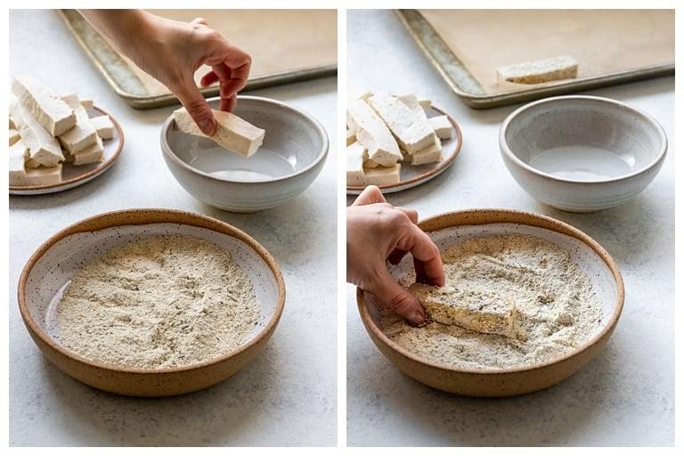 dipping tofu in coconut oil and quinoa flour breading