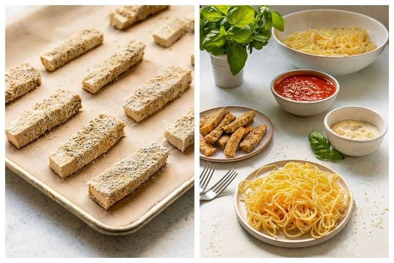 tofu parmesan before baking and tofu parmesan ingredients