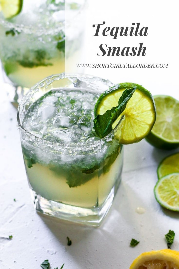 Tequila Smash with lemon, lime, and mint
