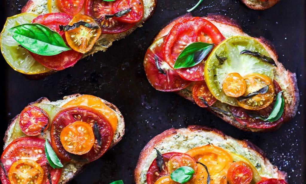 Roasted Heirloom Tomato and Vegan Pesto Sourdough Toasts
