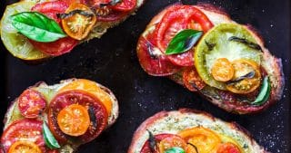 Roasted Heirloom Tomato and Vegan Pesto Sourdough Toasts