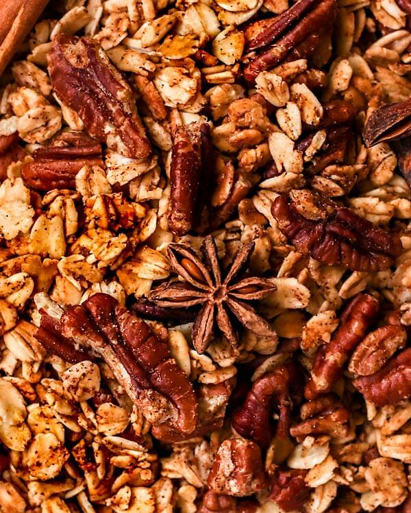 Chai spice granola filled with pecans, nutmeg, star anise, and cinnamon
