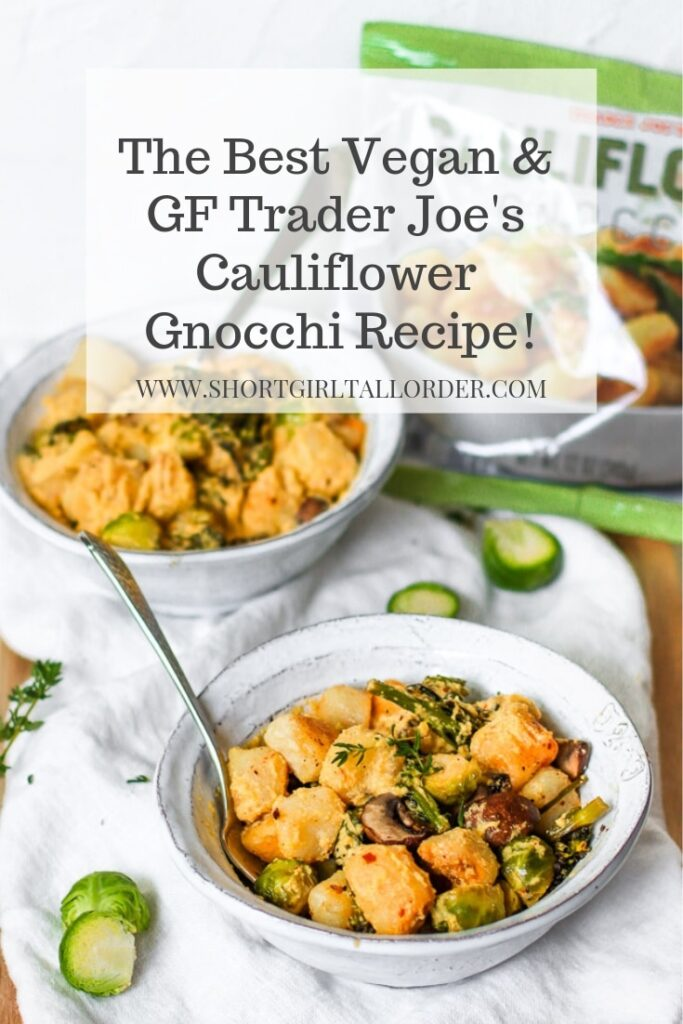 The best vegan and gluten-free cauliflower gnocchi recipe with butternut squash sauce and roasted vegetables