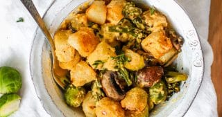 Trader Joe's Cauliflower Gnocchi with vegan butternut squash sauce and roasted vegetables