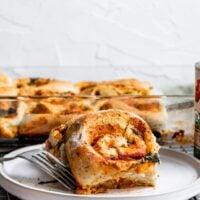 Vegan Caramelized Onion & Spinach Pizza Buns