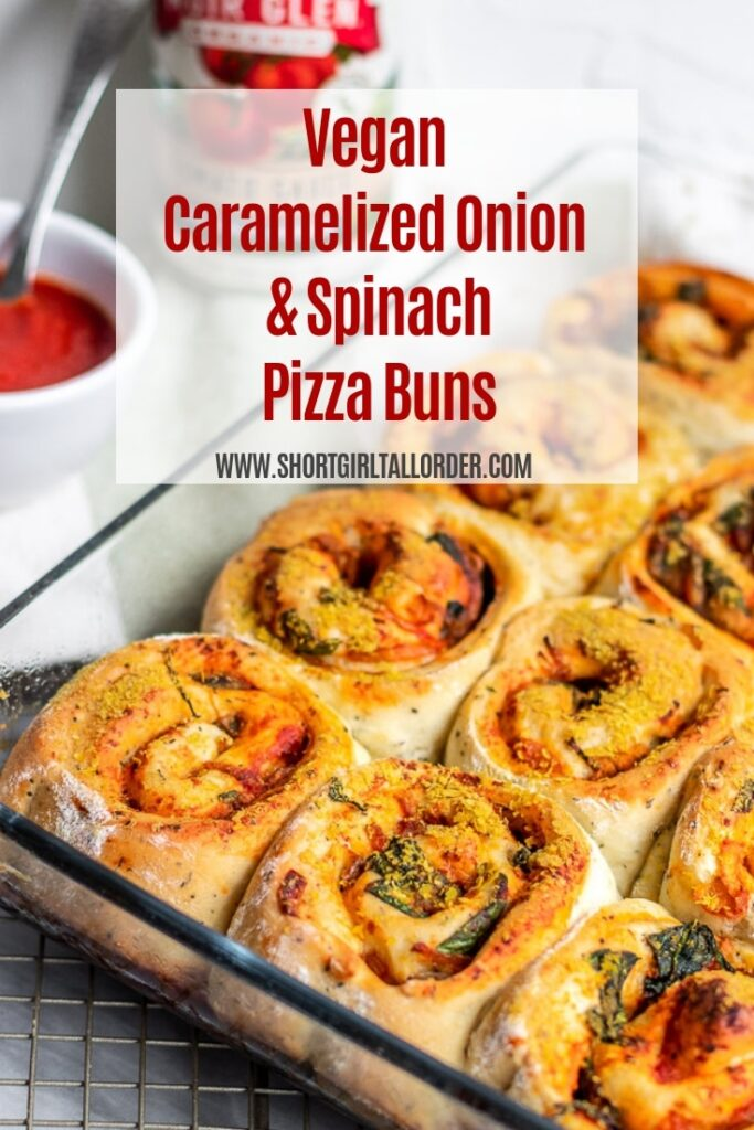 Vegan Caramelized Onion and Spinach Pizza Buns