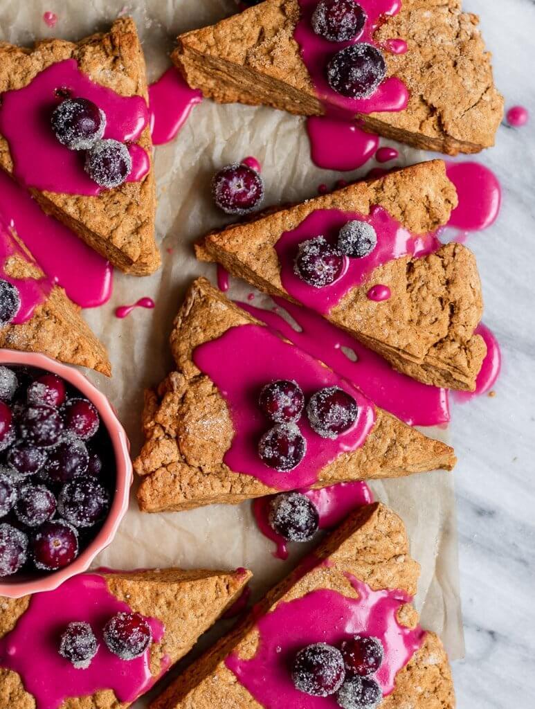 Vegan Gingerbread Scones with a Cranberry Glaze