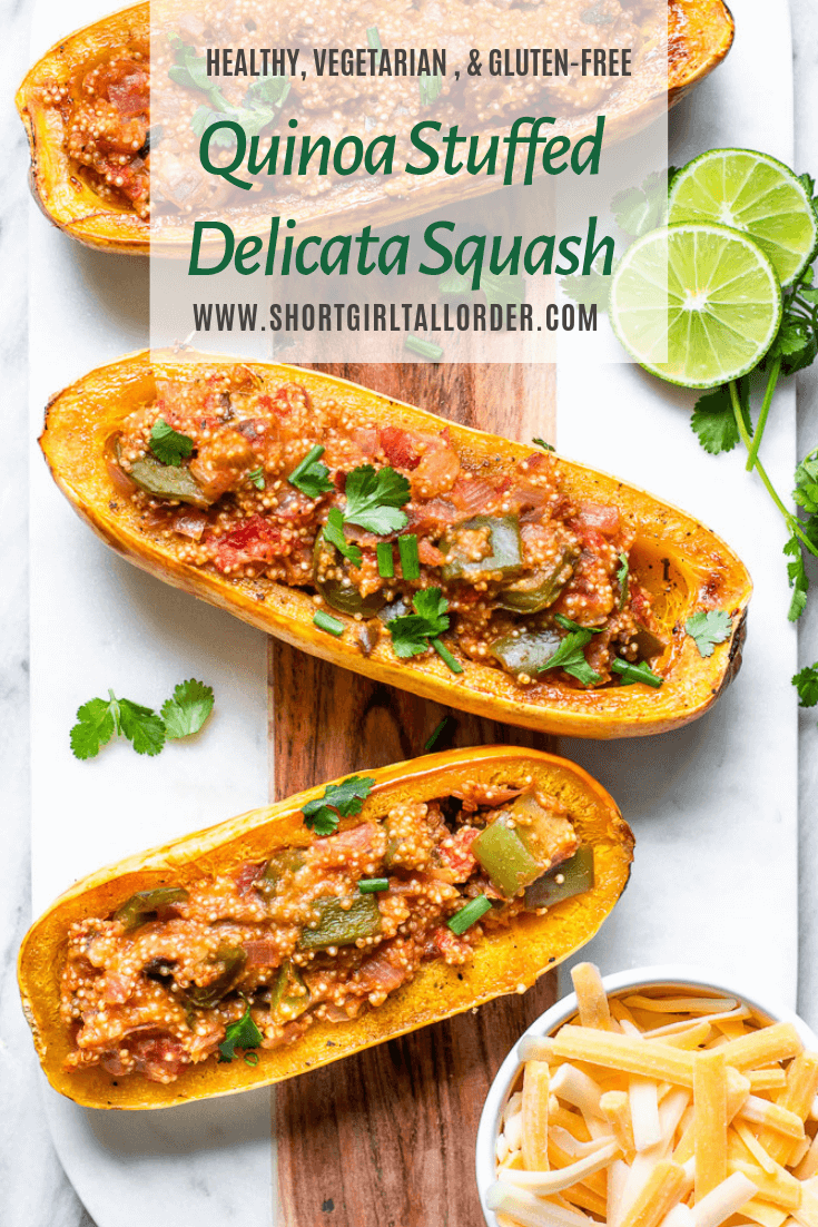 Vegetarian, GF, and Healthy Quinoa Stuffed Delicata Squash