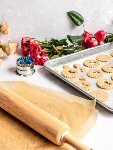 Vegan Linzer Cookies being rolled out