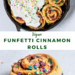 """sweet rolls with text """"vegan funfetti cinnamon rolls""""."""