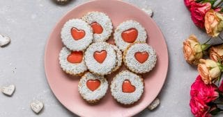 Vegan Blood Orange Curd Filled Linzer Cookies