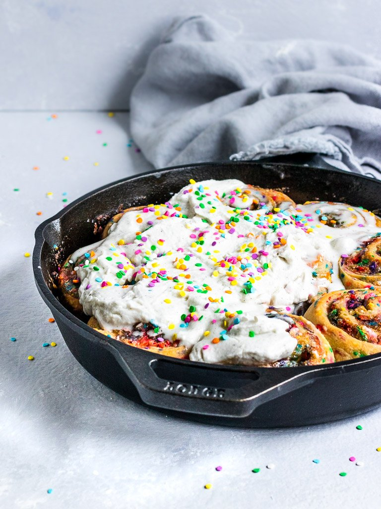 Vegan Funfetti Buns with coconut cream and rainbow sprinkles