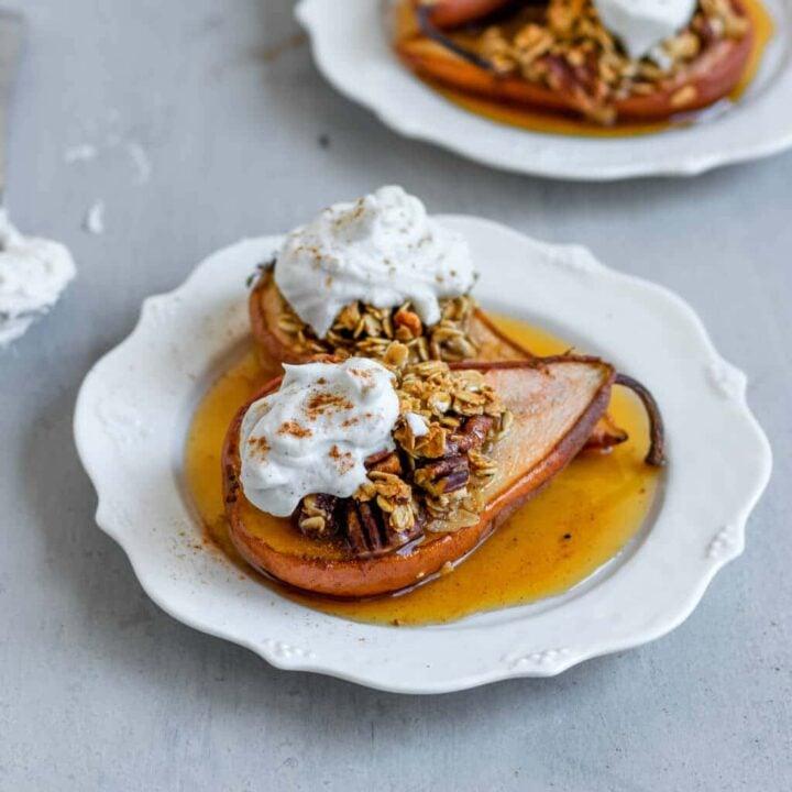 Vegan and Gluten-Free Baked Maple Cinnamon Stuffed Pears