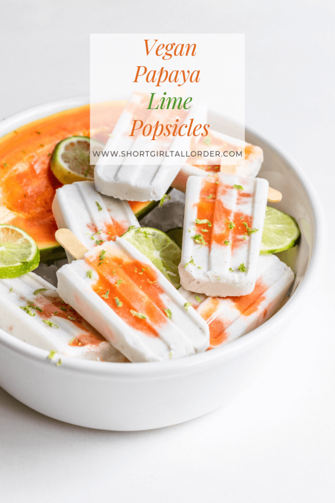 Vegan Papaya and Lime Popsicles