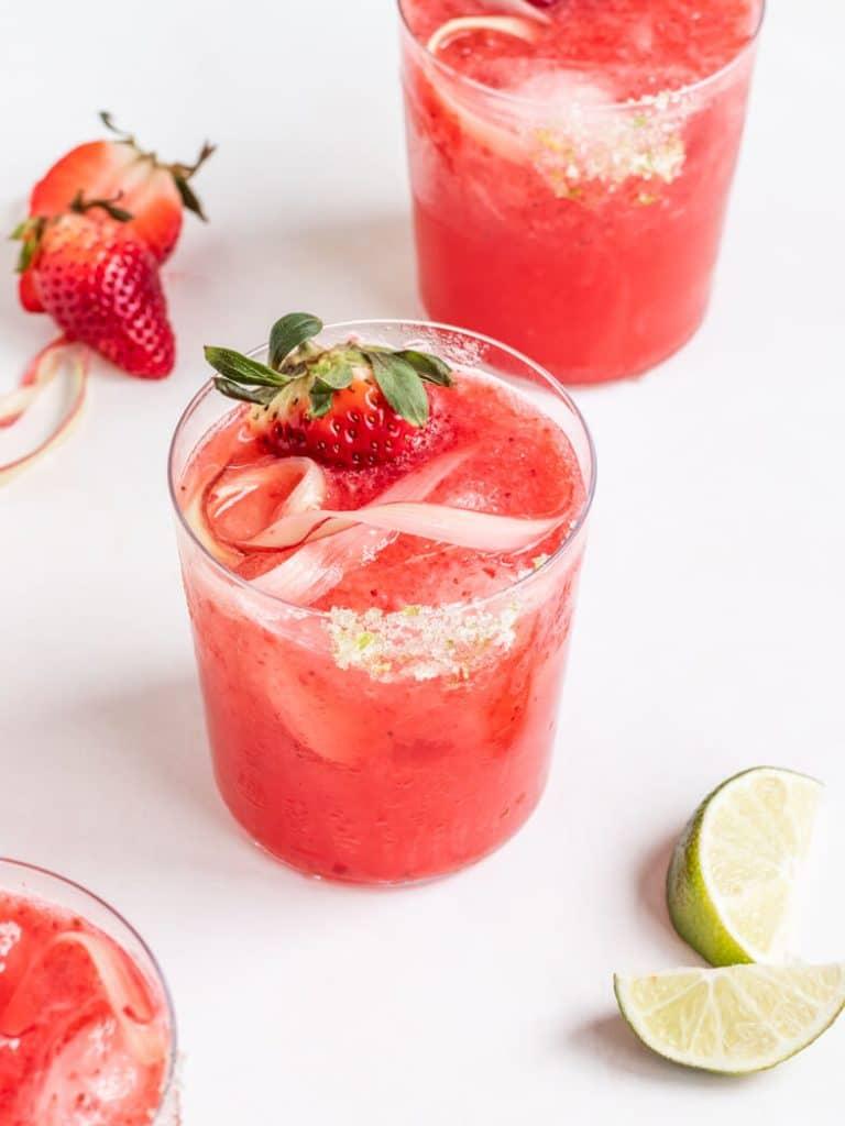 Frozen Strawberry Rhubarb Margarita