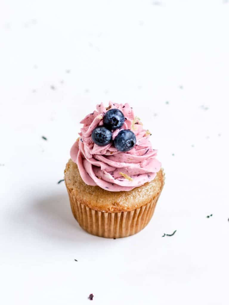 Vegan Earl Grey Cupcakes with Blueberry Lemon Frosting
