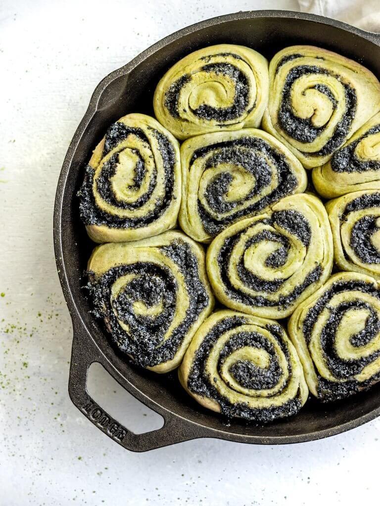 Vegan Matcha Black Sesame Sticky Buns