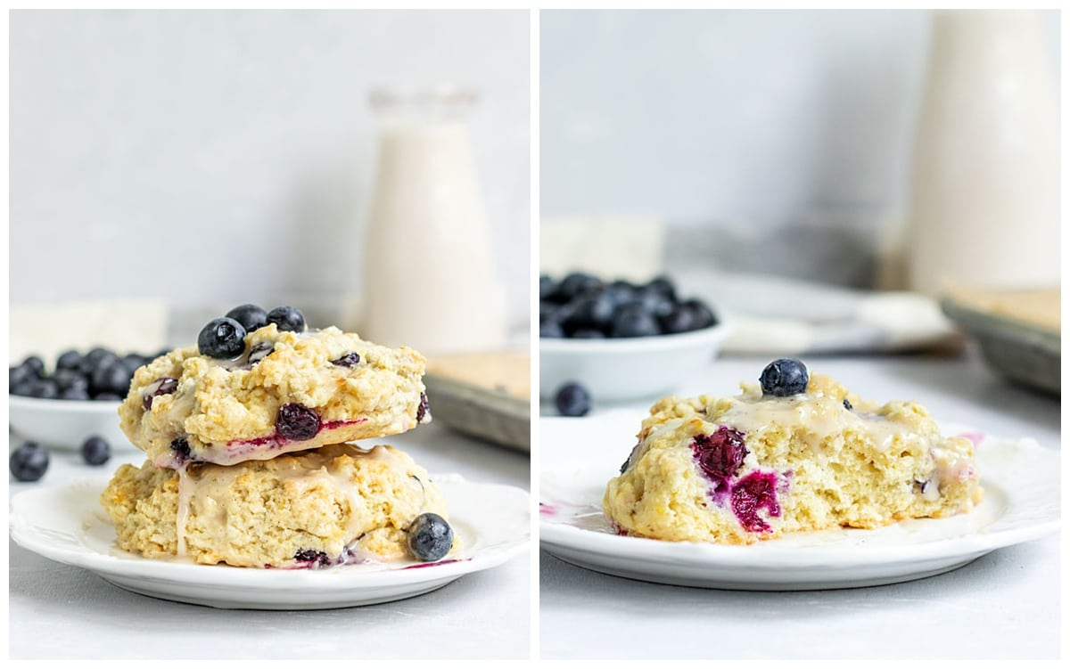 two pictures of blueberry scones stacked onto plate and one cut in half