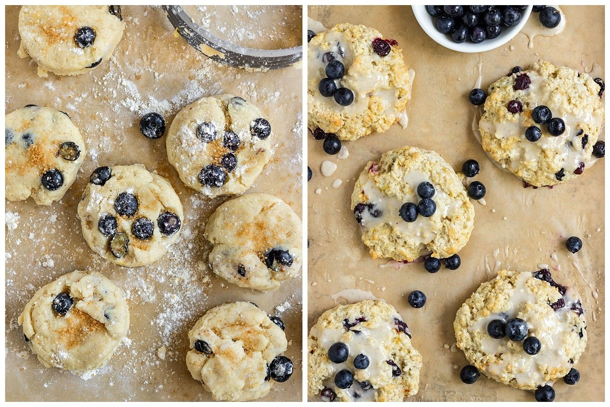 two pictures of blueberry scones on baking sheet before baking and after being baked