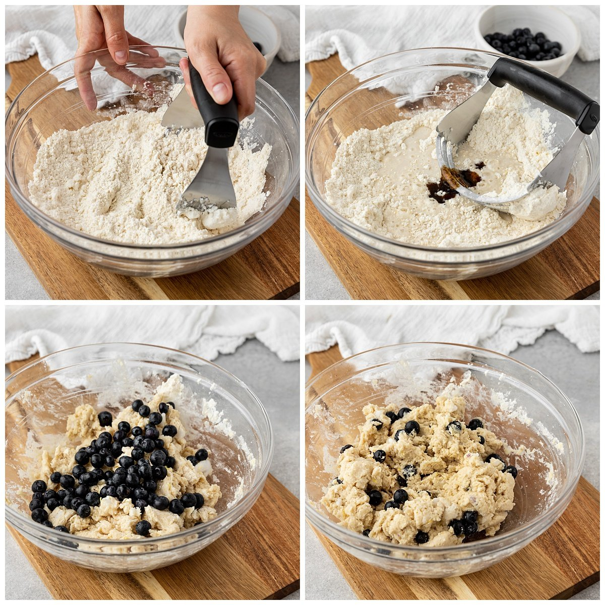 four pictures using pastry cutter to make blueberry scone dough