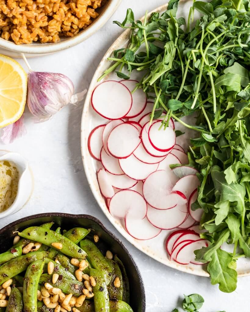 Salad Ingredients including charred Snap Peas, pine nuts, radish, arugula, pea shoots, and farro