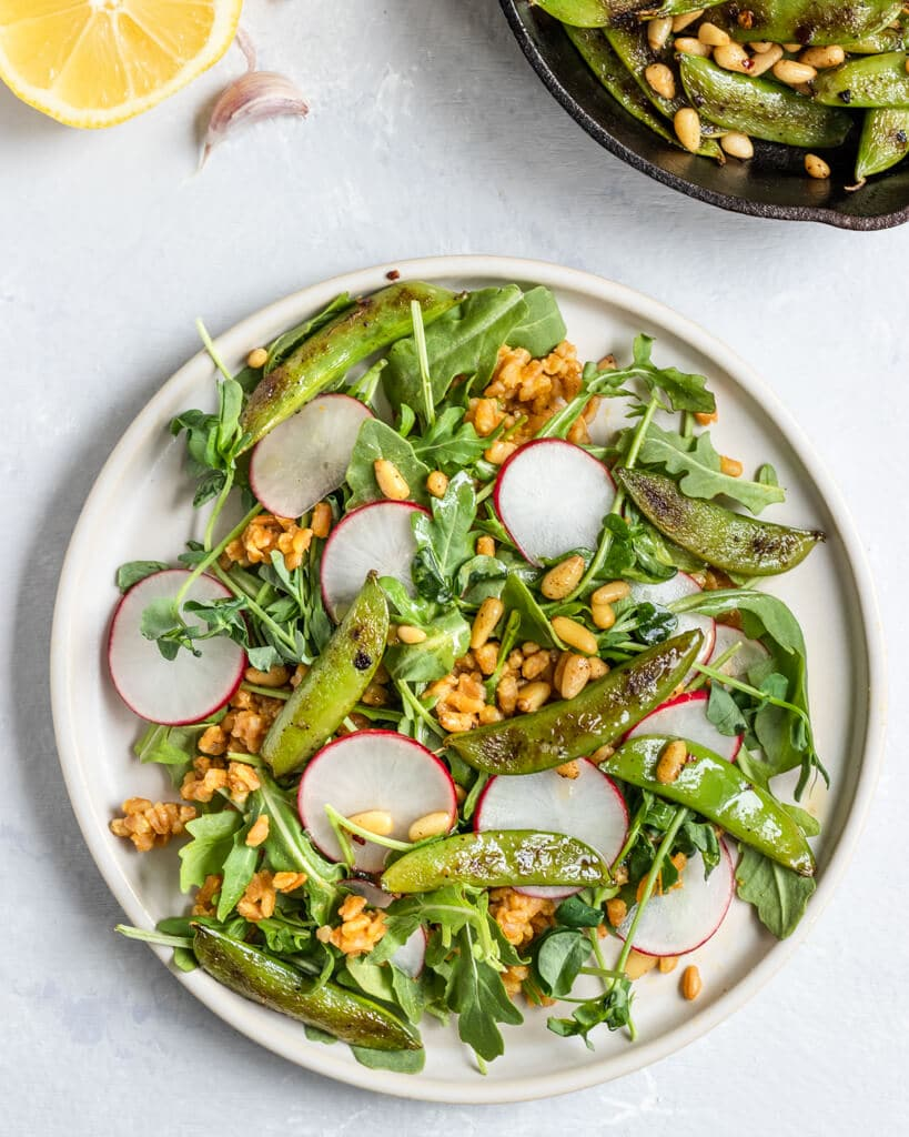 a plate filled with arugula, farro, radish slices, charred snap peas, and pine nuts