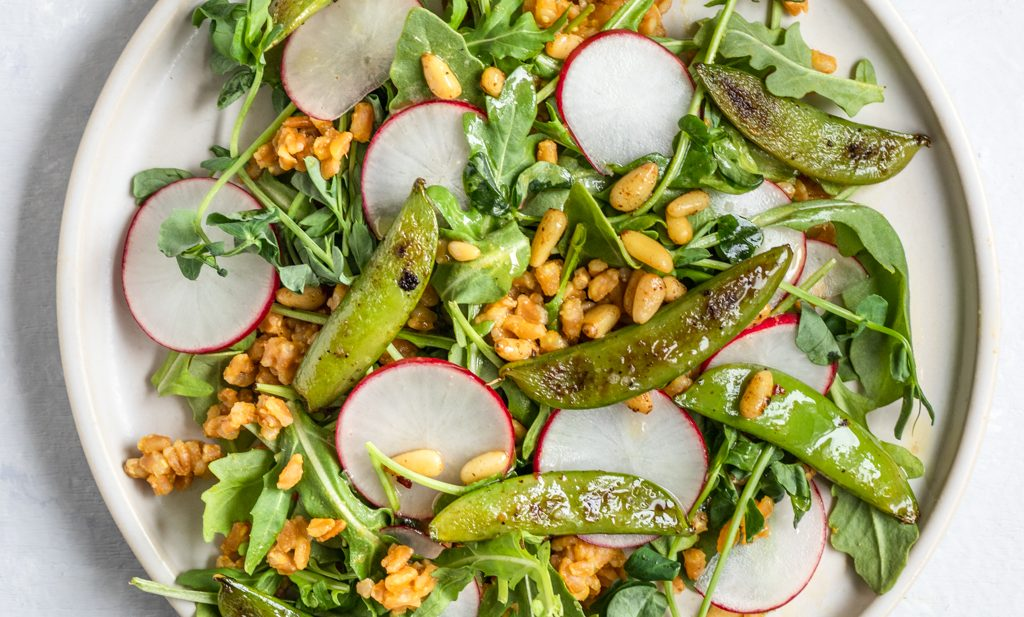 Snap Pea, Arugula, and Farro Grain Salad