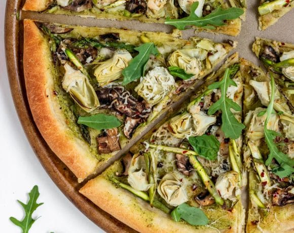 Vegan Artichoke Pesto Pizza