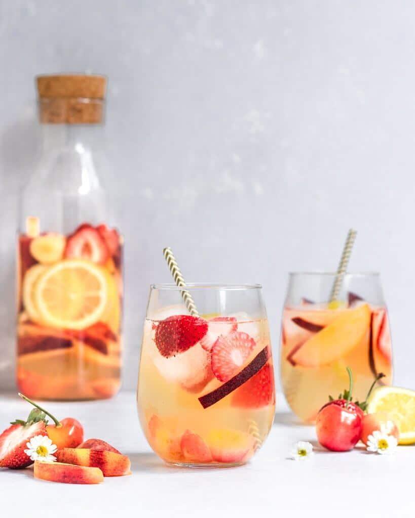 Peach, Strawberry, and Rainier Cherry Summer Sangria
