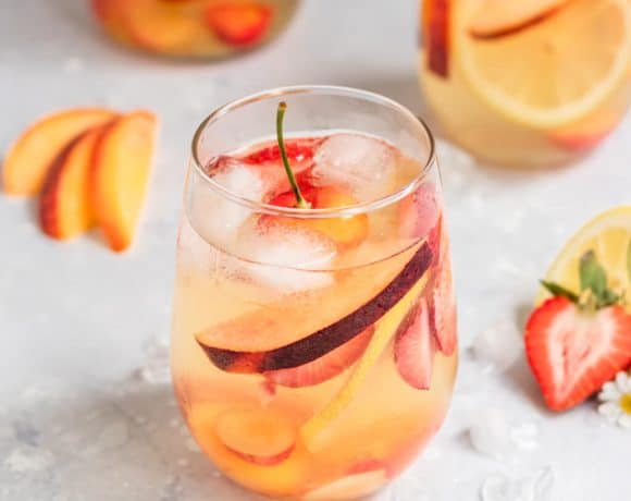 Peach, Strawberry, and Rainier Cherry Summer Sangria