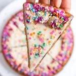 Vegan Chocolate Chip Cookie Cake with vegan vanilla buttercream