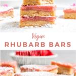 "bars with text ""vegan rhubarb bars""."