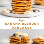 vegan banana pancakes with maple syrup, bananas, and blueberries.