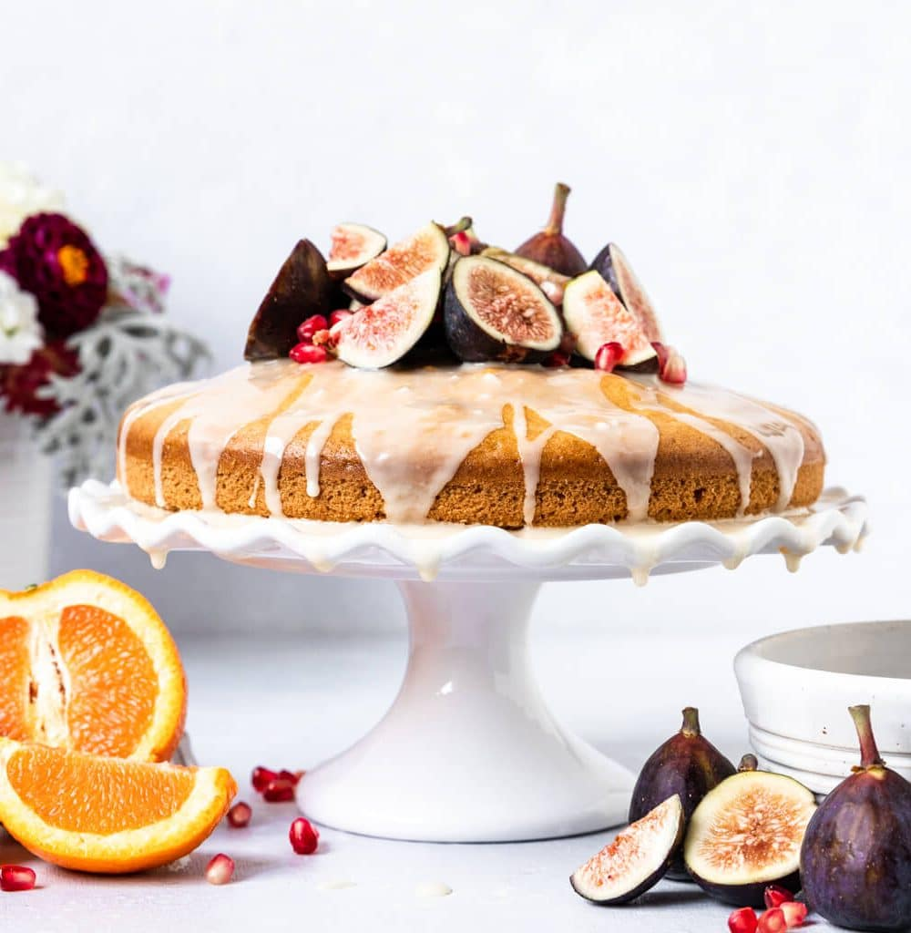 Vegan Orange Blossom Olive Oil Cake with Figs