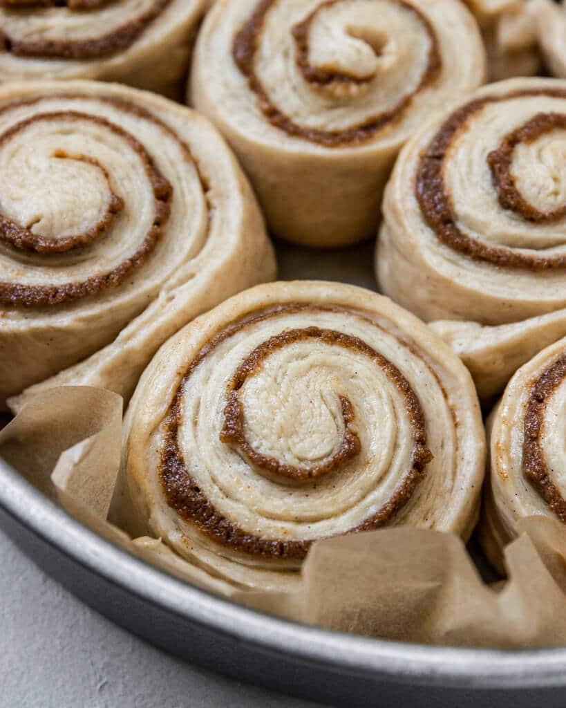 Vegan Sourdough Cinnamon Rolls before baking