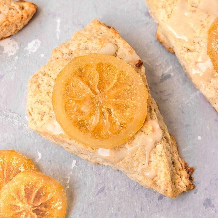 Lemon Scone topped with lemon glaze and candied lemons