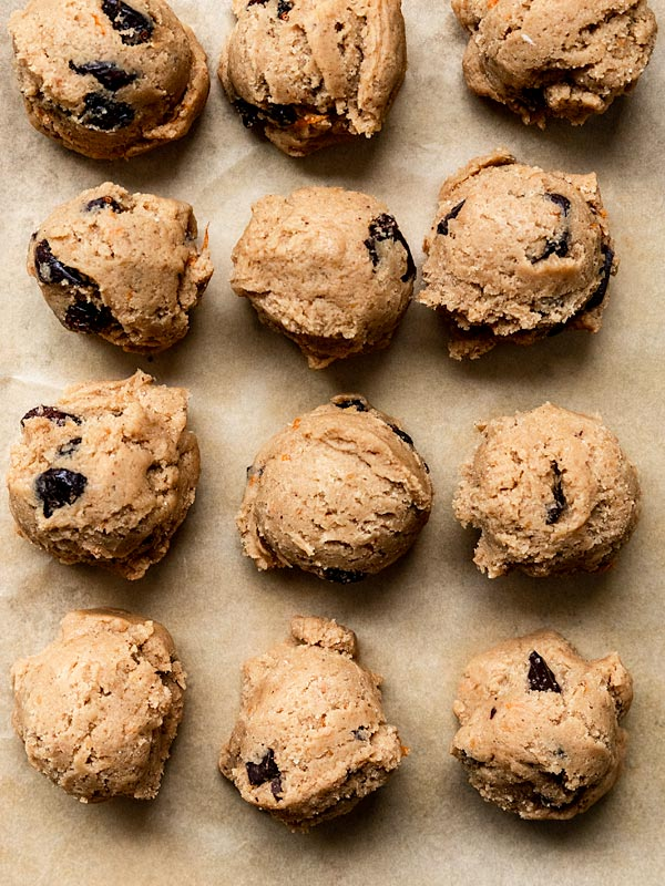 Cranberry Orange Chocolate Chip Cookie Dough pre-bake on a baking sheet