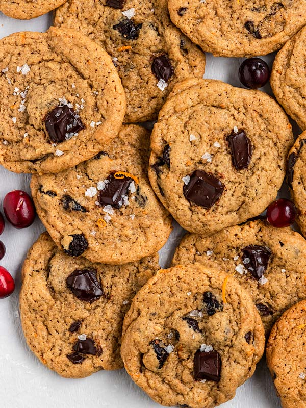 Cranberry Orange cookies with chocolate chunks inside and flaky sea salt on top