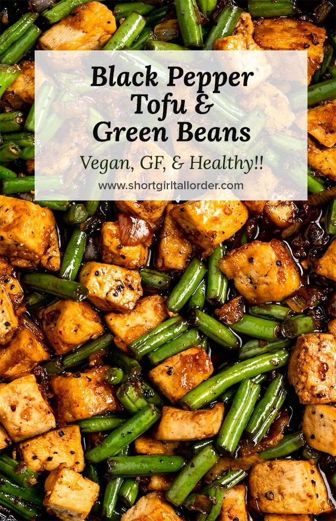 crispy tofu with green beans and shallots in a black pepper sauce