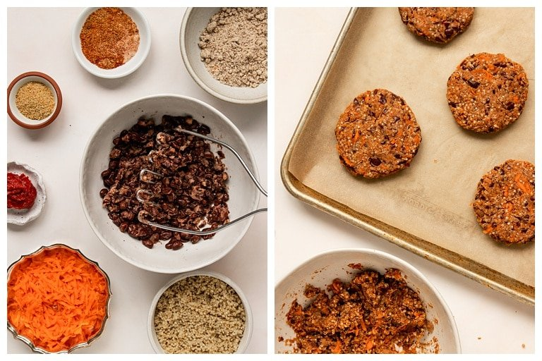 veggie burger ingredients and shaping quinoa black bean burger patties before baking