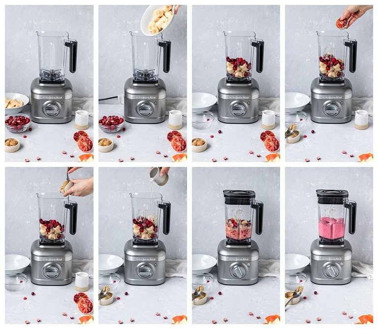 adding cranberry orange smoothie ingredients to blender