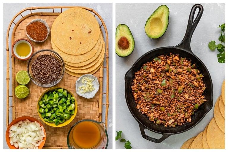 vegan lentil taco ingredients and ingredients cooked in a skillet