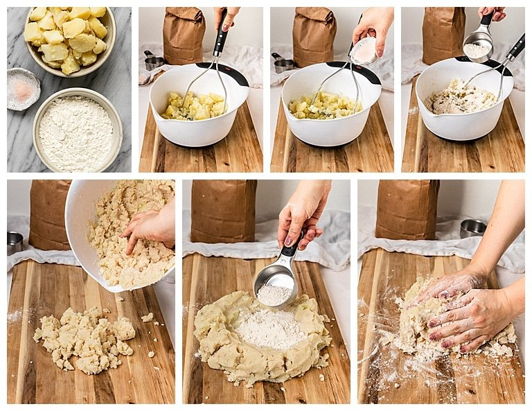 step by step photos to make vegan gnocchi dough