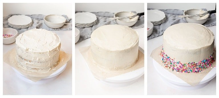 how to do a crumb coat and frost a three layer cake