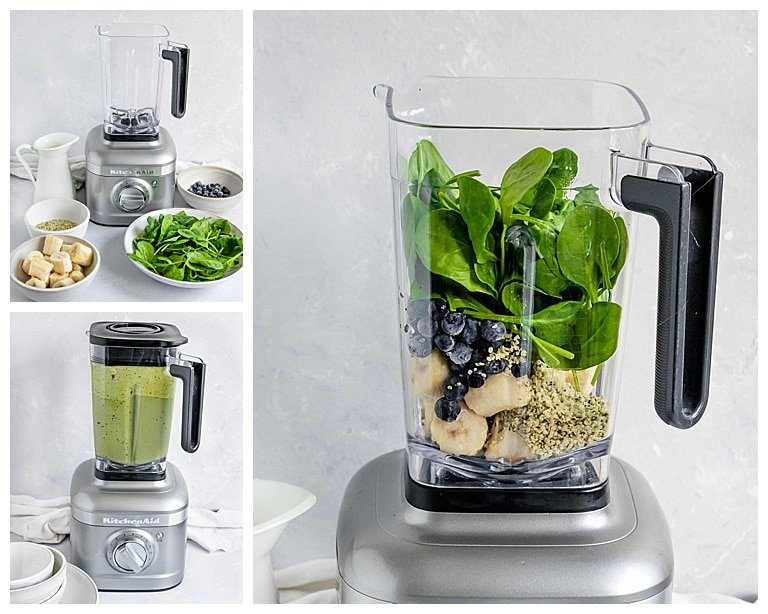 green smoothie ingredients being added to blender and blended