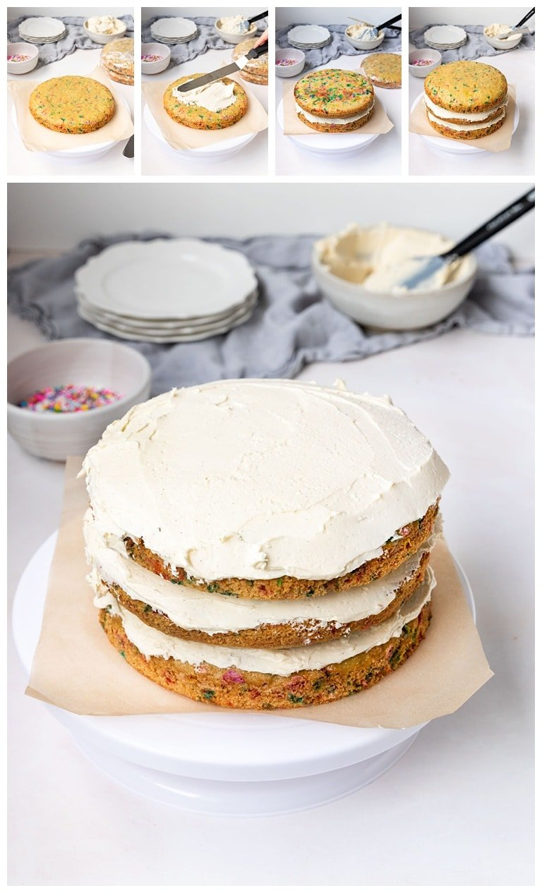 5 picture steps to layer and frost a three layer sprinkle cake with vanilla frosting