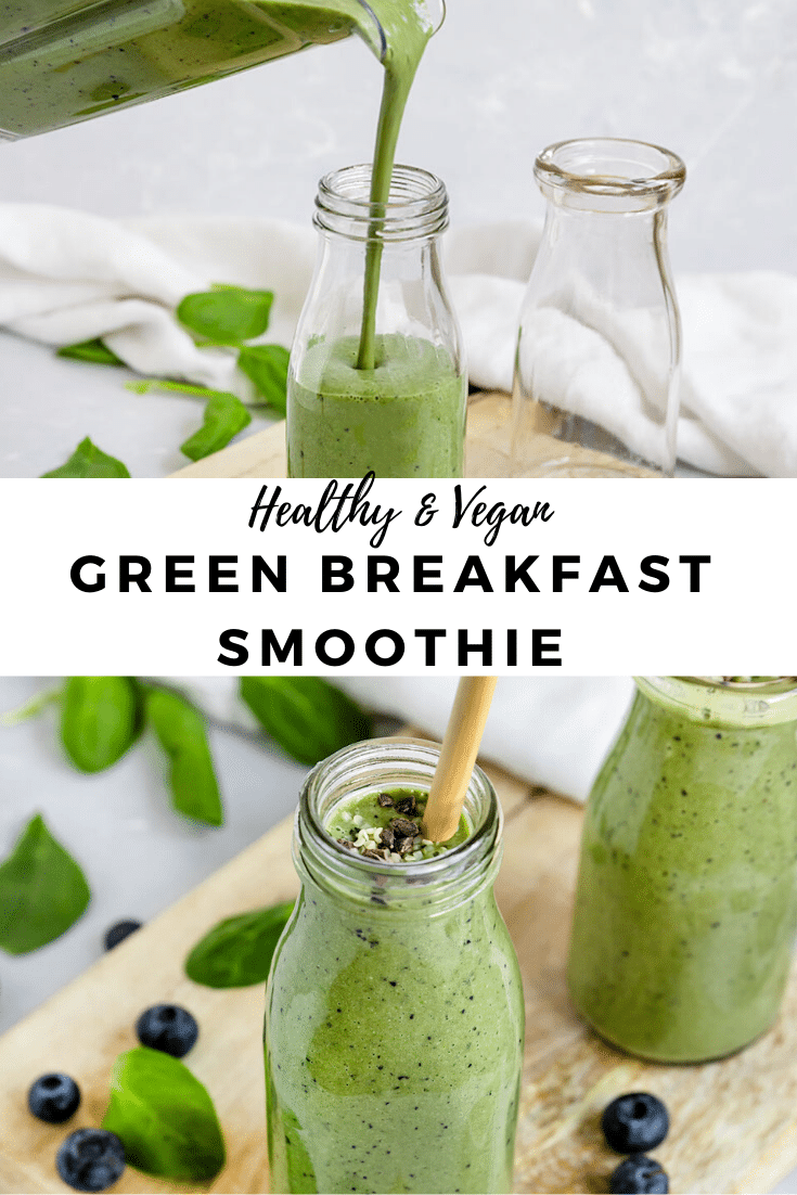 green breakfast smoothies with spinach and blueberries in cups